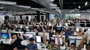 Happy students at 42 computing school
